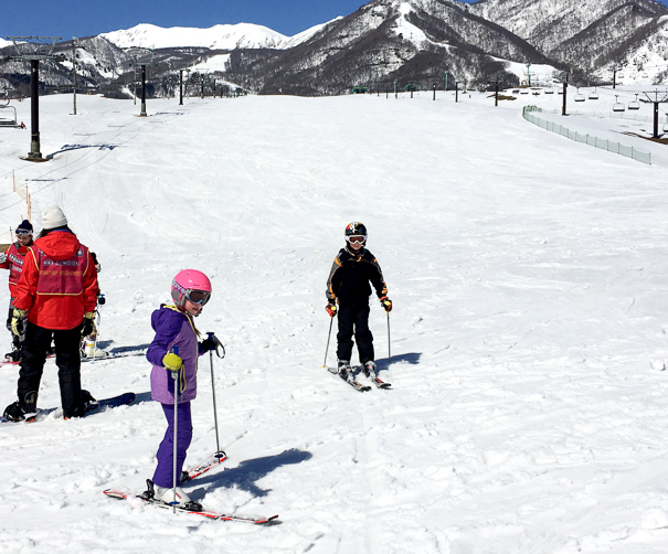 Skiing in Japan with kids at Tsugaike Kogen Resort Hakuba Japan