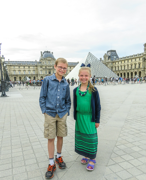 Paris with kids at the Louvre museum.