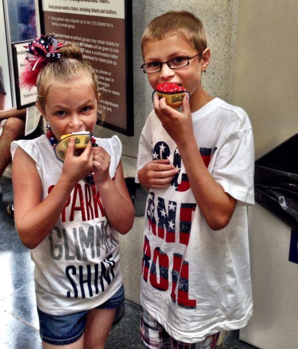Enjoying Cupcakes at Betsy Ross' Birthday Party