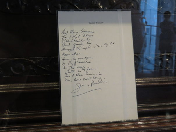 "Irving Berlin's handwritten lyrics to ""God Bless America"""
