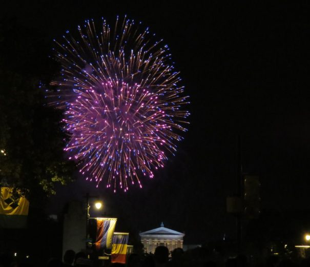 July 4th Fireworks along Ben Franklin Parkway. Philadelphia, Pennsylvania