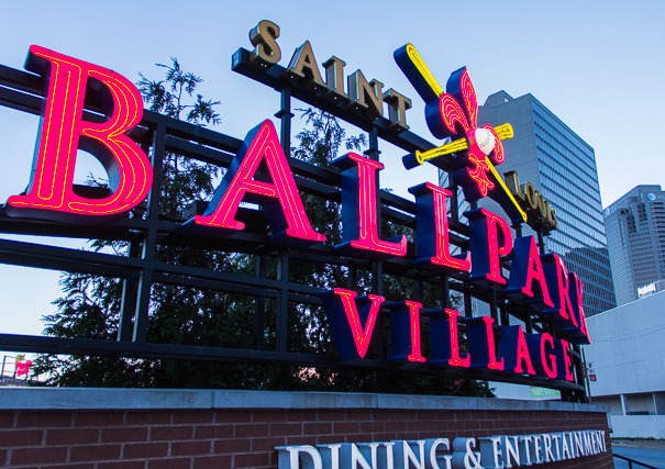 Ballpark Village in St. Louis with kids