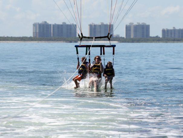 Parasailing in Florida with a dip in the water