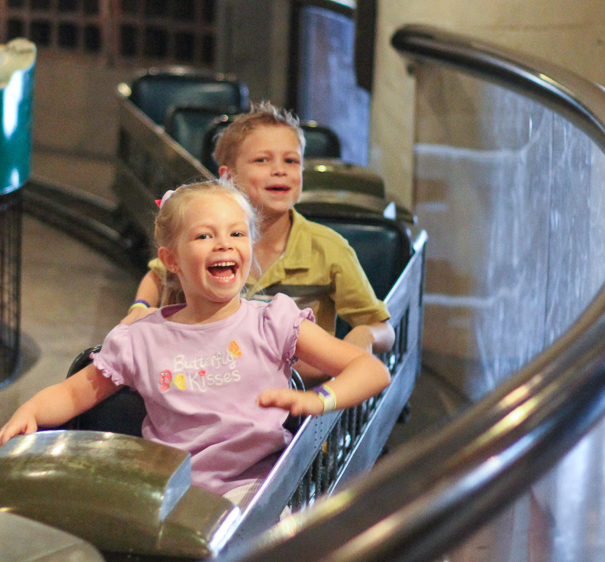 Kids riding the train at City Museum St. Louis