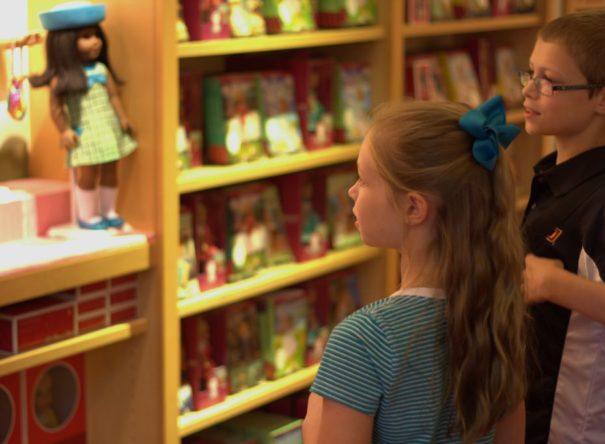 Browsing the impressive displays at American Girl