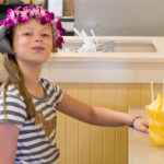 Dole Whip float at the Dole Plantation Oahu Hawaii with kids
