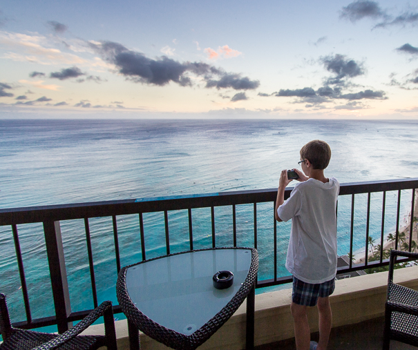 Hawaii with kids at the Hyatt Regency Waikiki Balcony Sunset