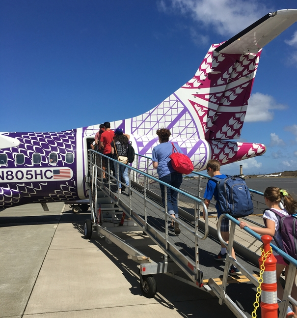 Boarding the plane to Big Island Hawai'i