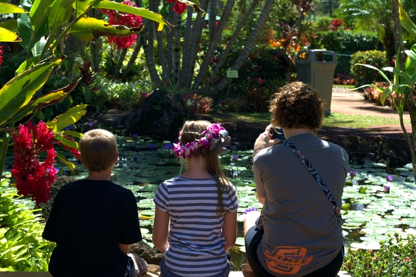 Enjoying the beautiful views in the Dole Plantation gardens