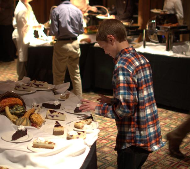 Andrew going all in for dessert