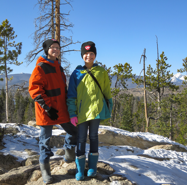 Hiking around Rocky Mountain National Park with kids in winter