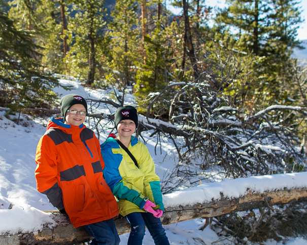 Hiking winter trails in Rocky Mountain National Park with kids