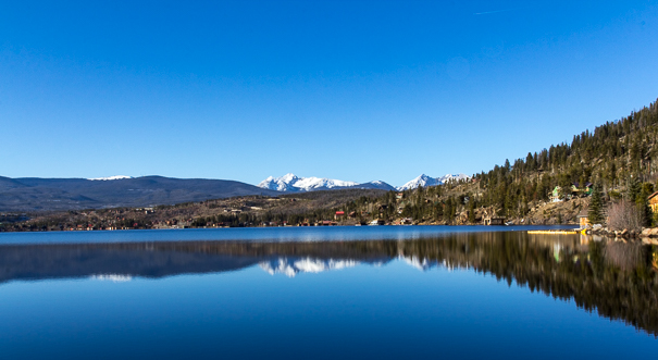 Reflections off of Grand Lake in Rocky Mountain National Park