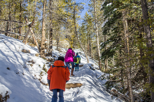 Hiking through Rocky Mountain National Park with kids
