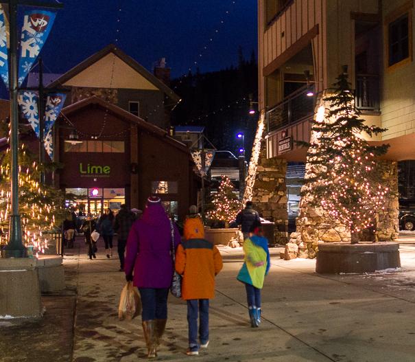 Winter Park Resort Village Shops at nigh