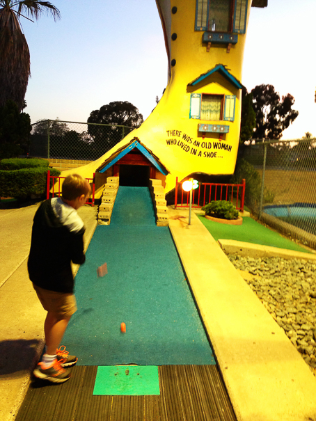 Playing mini golf in San Diego with kids