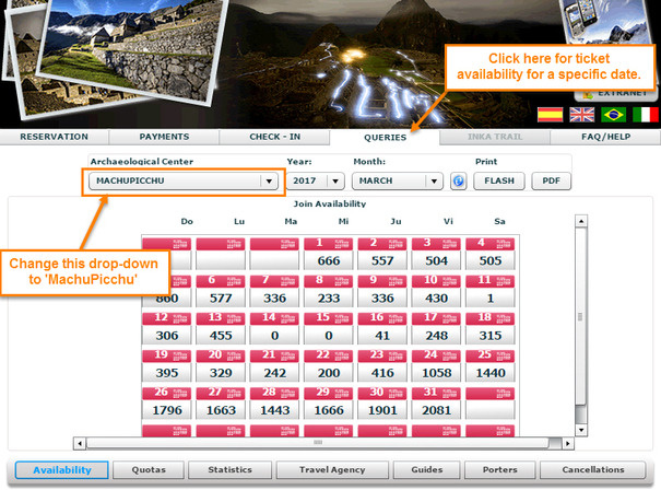 Daily Ticket Availibility for Machu Picchu