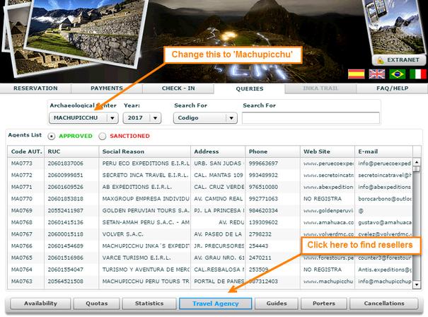 Machu Picchu Ticket Resellers