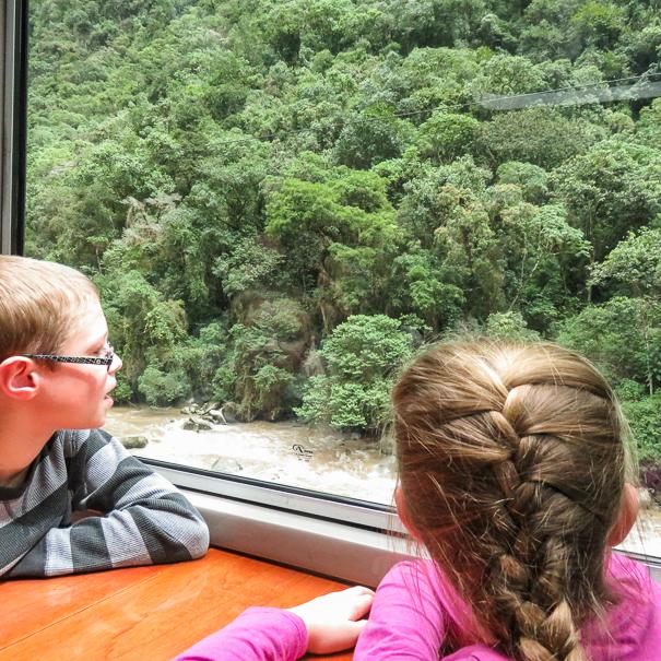 Peru Rail train to Machu Picchu with kids