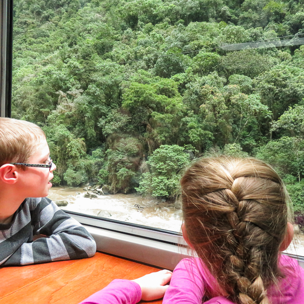 Peru Rail train to Machu Picchu with kids