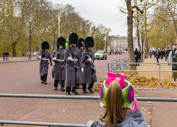 places to see in London with kids - changing of the guard at Buckingham Palace.