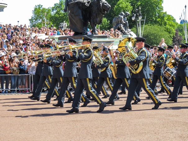 Changing of the guard in London with kids