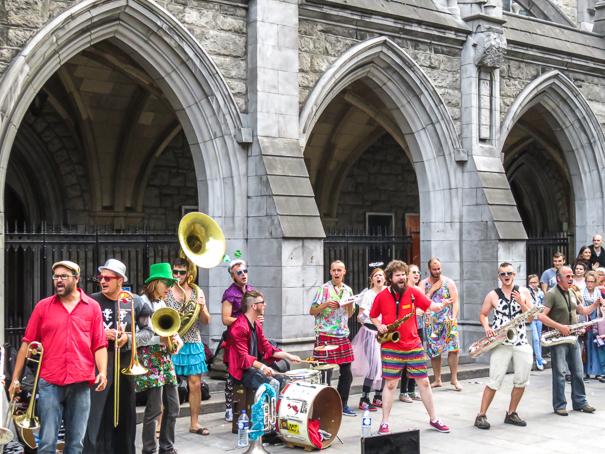 Enjoying a street concert in Dublin Ireland with kids