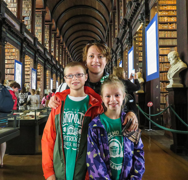 Trinity College Long Room in Dublin with kids