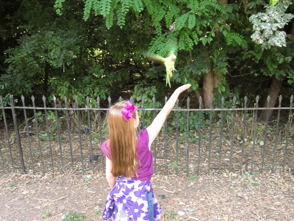 Feeding the parakeets at Kensington Gardens- places to visit in London with kids