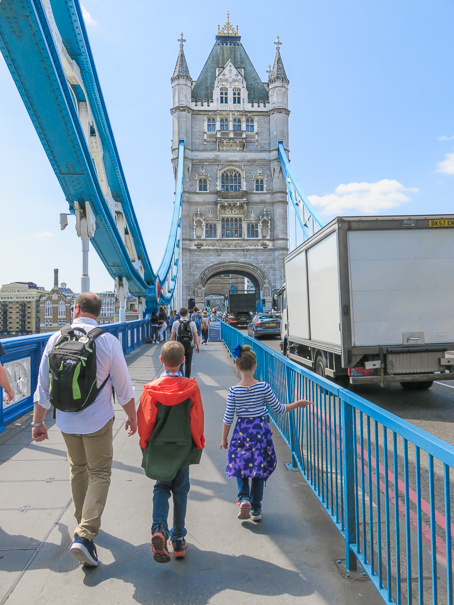 Crossing the Tower Bridge in London with kids