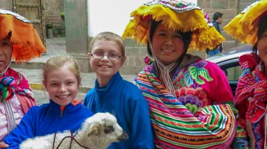 Cusco Peru Kids with Goat