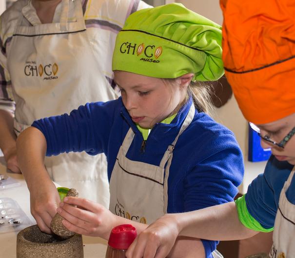 Making chocolate at the Choco Museo Cusco Peru