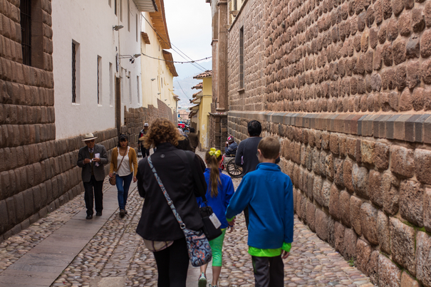 Cobblestone streets in Cusco Peru