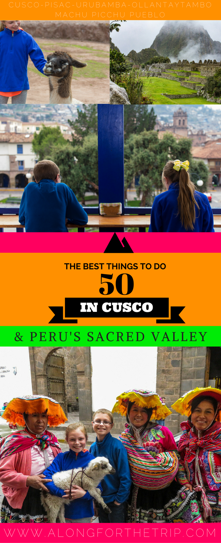 We love Peru for it's history, scenery, and charming people and you will too! From Machu Picchu, Quechuan textiles, alpacas, and pisco sours, enjoy the 50 best things to do in Cusco and Sacred Valley #Peru. | #familytravel #machupicchu #SouthAmerica