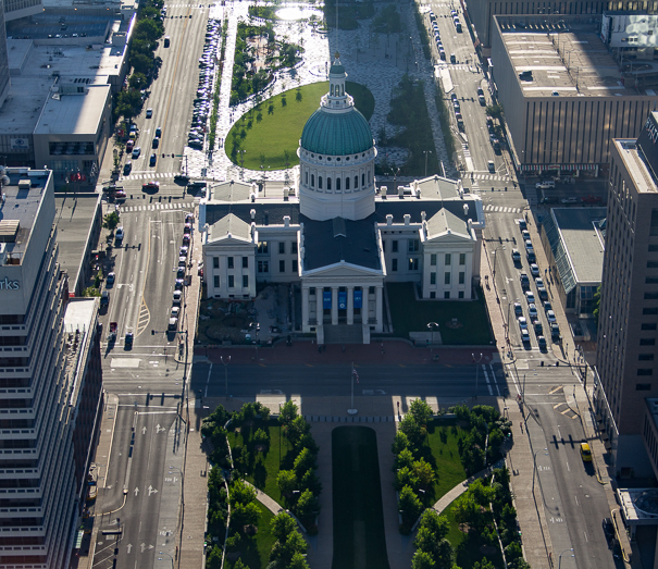 View of the Old Courthouse from the top of the Gateway Arch