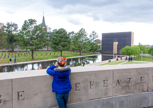 Looking out onto the Oklahoma City National Memorial