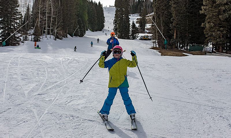 Skiing with kids at Purgatory Resort Durango Colorado