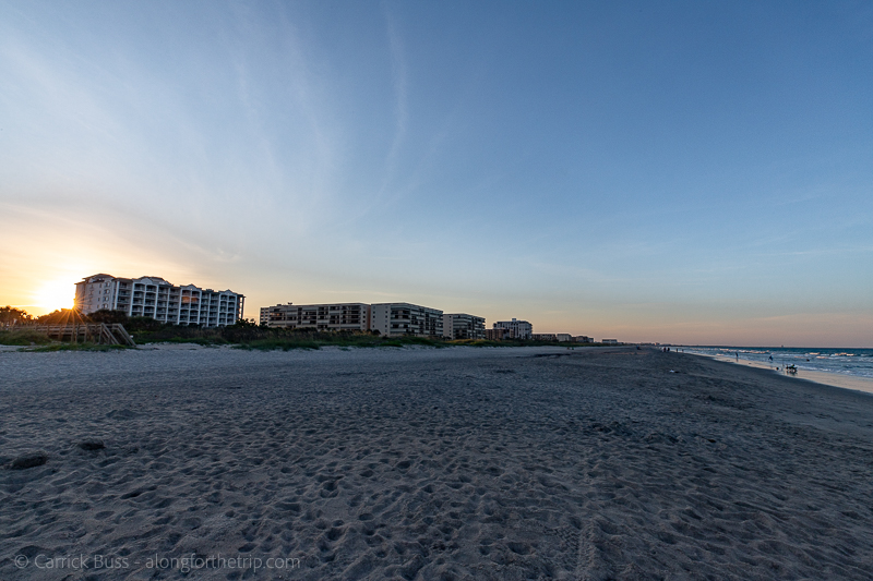 Sunset at Cocoa Beach Florida with kids