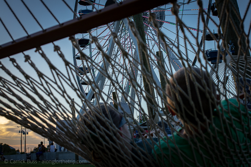 Find a hammock at the OKC wheel - things to do in Oklahoma with kids