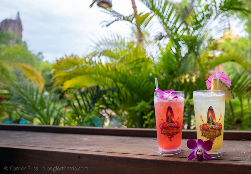 Enjoying some drinks in the cabana at Volcano Bay