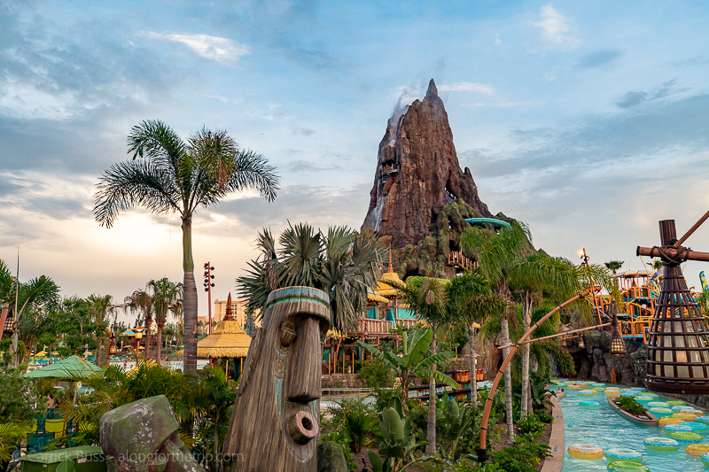 Volcano Bay Florida at dusk
