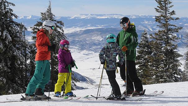 Family skiing at Steamboat Colorado