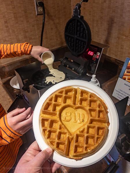 Best Western waffles at the Best Western Canyonlands Inn - free breakfast.