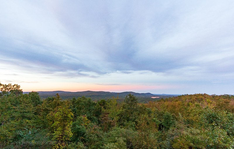 Sunset over the Ouachita National Forest in Hot Springs National Park.