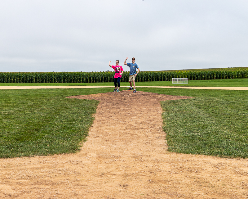 Playing ball at the Field of Dreams ball field in Iowa