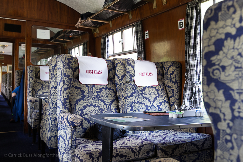 first class seats on the Harry Potter train ride Scotland