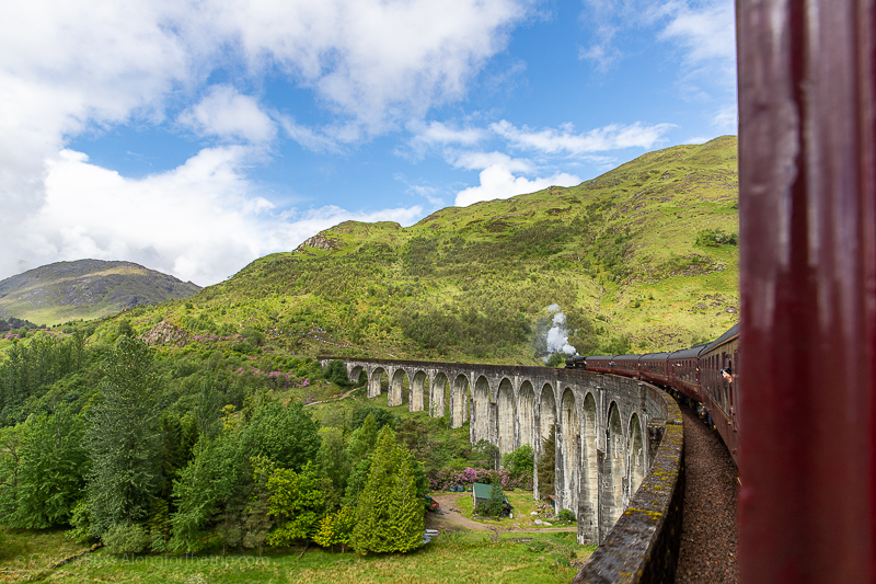 crossing the Glenfinnan Viaduct - Harry Potter train bridge Scotland