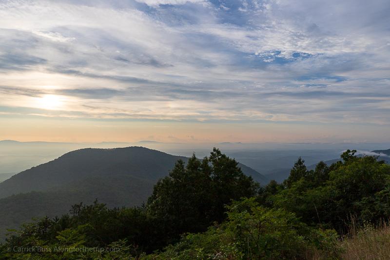 Blue Ridge Parkway Sunset in Virginia.