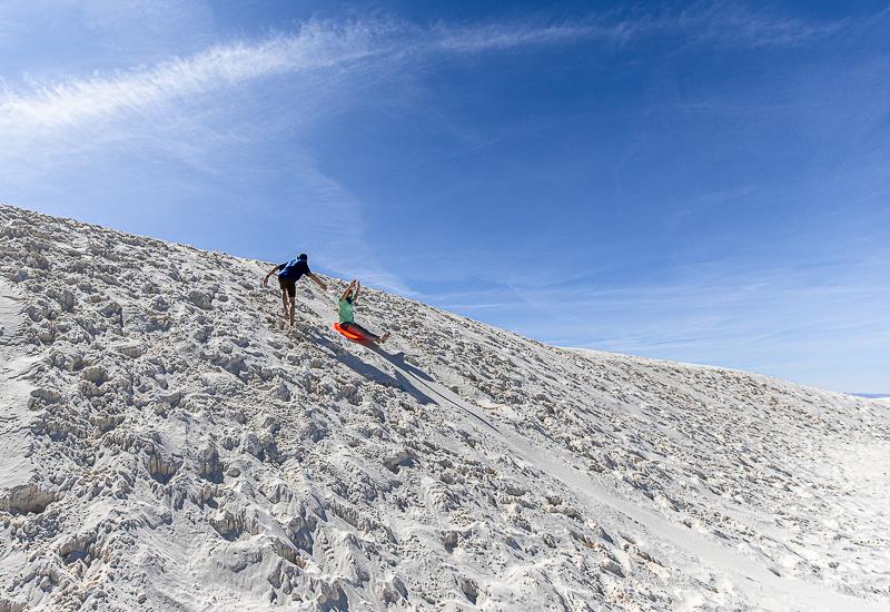 Sledding at White Sands National Park